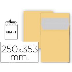Sobre liderpapel bolsa n 11 kraft folio prolongado 250x353 mm tira de silicona paquete de 25 unidades