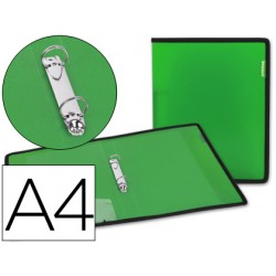 Carpeta liderpapel 2 anillas 25 mm 43033 polipropileno verde con bolsa y tarjetero con ribete negro