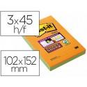 Bloc de notas adhesivas quita y pon post-it super sticky neon rayado 102x152 mm pack de 3 unidades colores