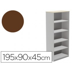 Armario rocada con cuatro estantes serie store 195x90x45 cm acabado wengue ab03