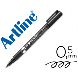 Rotulador artline para cd punta de fibra permanente ek-883 negro 0.5 mm-blister de 1 unidad