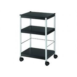 Mesa auxiliar fast-paperflow 3 estantes con rieles para carpetas colgantes 4 ruedas color negro 740x450x360 mm