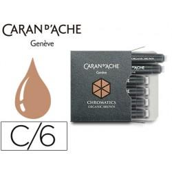 Tinta estilografica caran d'ache marron organico caja de 6 cartuchos