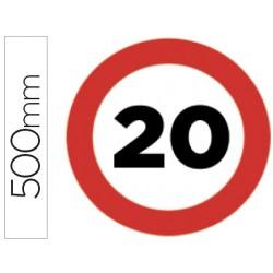 Pictograma syssa señal vial velocidad maxima 20km por horaen acero galvanizado 500 mm