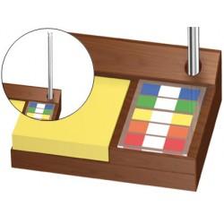 Soporte bloc de notas adhesivas y banderitas separadoras madera s-61 145x34x105 mm
