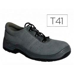 Zapatos faru de seguridad con puntera de acero cuero negro talla 41