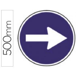 Pictograma syssa señal vial sentido obligatorio derecha en acero galvanizado 500 mm