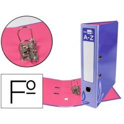 Archivador de palanca liderpapel folio forrado con rado lomo 75mm violeta compresor metalico