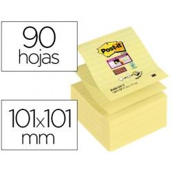Bloc de notas adhesivas quita y pon post-it super sticky rayado 101x101mm 90 hojas z-notes amarillo canario