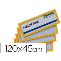 Marco identificacion tarifold adhesivo 120x45 mm amarillo pack de 4 unidades