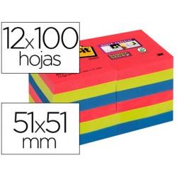 Bloc de notas adhesivas quita y pon post-it super sticky 51x51 mm pack de 12 bloc colores joya pop surtidos
