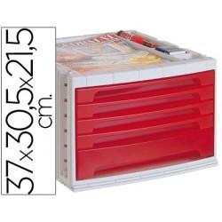 Fichero cajones de sobremesa q-connect 37x30,5x21,5 cm bandeja organizadora superior 5 cajones rojo translucido