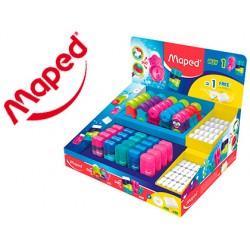 Sacapuntas plastico maped con gomas expositor de 45 unidades surtidas + 45 gomas gratis