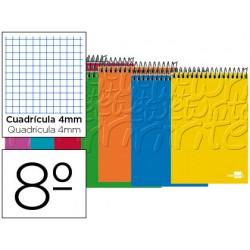 Cuaderno espiral liderpapel bolsillo octavo apaisado write tapa blanda 80h 60 gr cuadro 4mm colores surtidos