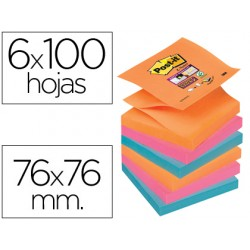 Bloc de notas adhesivas quita y pon post-it super sticky 76x76 mm zigzag con 6 bloc 2 rosa naranja neon azul