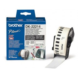 Cinta de papel continuo brother dk-22214 para impresoras de etiquetas ql