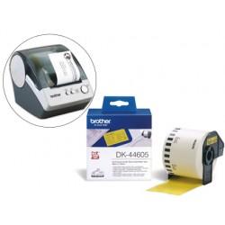 Etiqueta brother dk44605 cinta papel continuo adhesiva removible amarilla 62x30,48 mt