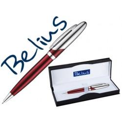 Boligrafo belius varsovia rojo lacado con detalles cromados en estuche