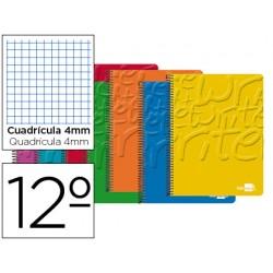 Cuaderno espiral liderpapel bolsillo doceavo write tapa blanda 80h 60 gr cuadro 4mm colores surtidos