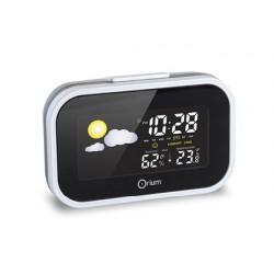 Reloj despertador orium digital con estacion meteorologica negro/plata 12x3,5x7,7 cm