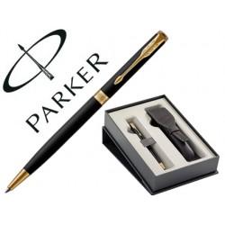 Boligrafo parker sonnet laca negra gt + funda de piel en set de regalo