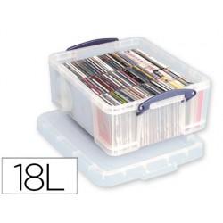 Organizador archivo 2000 plastico transparente con tapa18 litros 200x390x480 mm