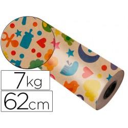 Papel fantasia kraft 4302 havana motivo infantil bobina 62 cm 7 kg