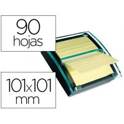 Soporte bloc de notas adhesivas quita y pon post-it super sticky z-notes color negro/transparente con 1 bloc