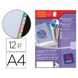Separador avery de plastico con 12 pestañas de indice personalizable tamaño a4