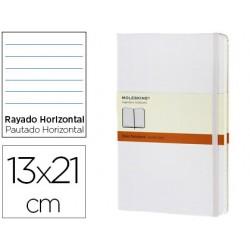Libreta moleskine tapa dura rayado horizontal 240 hojas color blanco cierre con goma 130x210 mm