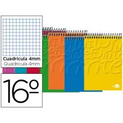 Cuaderno espiral liderpapel bolsillo dieciseisavo apaisado write tapa blanda 80h 60 gr cuadro 4mm colores surtidos