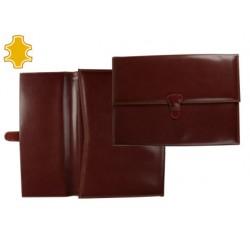 Carpeta portafolios artesania de polipiel con broche medidas 36,5x26,5x3,5 cm. cuero oscuro