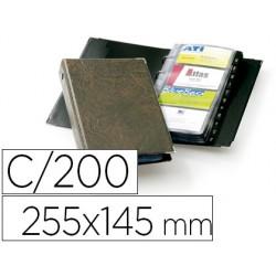 Tarjetero durable visifix 4 anillas 25 fundas con indice alfabetico para 200 tarjetas visitas 57x90 mm color marron