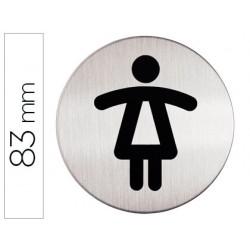 Pictograma adhesivo durable wc señora 83 mm