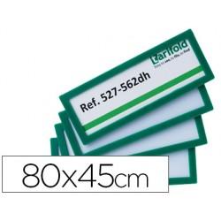 Marco identificacion tarifold adhesivo 80x45 mm verde pack de 4 unidades