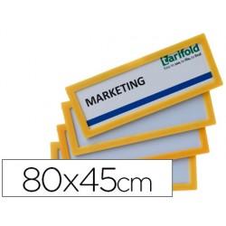 Marco identificacion tarifold adhesivo 80x45 mm amarillo pack de 4 unidades