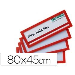 Marco identificacion tarifold adhesivo 80x45 mm rojo pack de 4 unidades