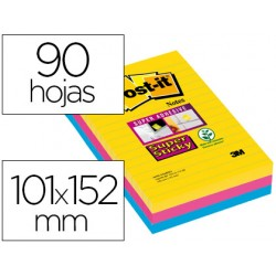 Bloc de notas adhesivas quita y pon post-it super sticky 101x152 mm con 90 hojas rayado pack de 3 bloc colores