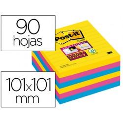 Bloc de notas adhesivas quita y pon post-it super sticky 101x101 mm con 90 hojas rayado pack de 6 bloc colores
