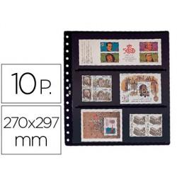 Funda pardo clasificadora de sellos 8 bandas doble cara fondo negro 15 anillas 270 x 297 mm pack de 10 unidades