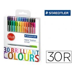 Rotulador staedtler triplus fineliner estuche 24+6 colores surtidos