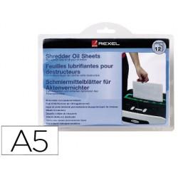 Hojas lubricantes rexel para destructora paquete de 12 hojas tamaño din a5