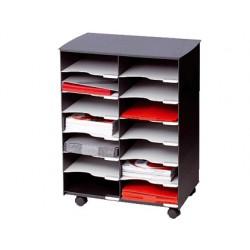 Modulo fast-paperflow con 14 casillas y ruedas pivotantes color negro 720x514x330 mm