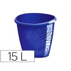 Papelera plastico cep color azul capacidad 15 litros