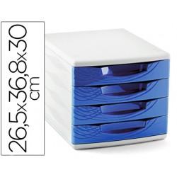 Fichero cajones de sobremesa cep 265x368x300 mm 4 cajones color azul