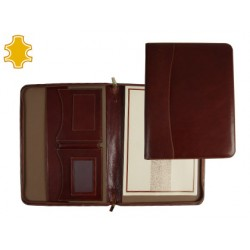 Carpeta portafolios artesania de piel tamaño din a4 color marron con cremallera y departamentos 343x255x30 mm