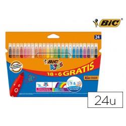 Rotulador bic kids couleur estuche de 18 + 6 colores tinta base de agua lavable