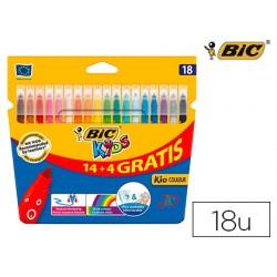 Rotulador bic kids couleur estuche de 14 + 4 colores tinta base de agua lavable