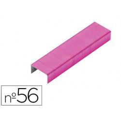 Grapas rexel n.56 26/6 color rosa caja de 2000 unidades