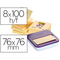 Bloc de notas adhesivas quita y pon post-it super sticky z-notes 76x76 mm amarillo pack de 8 unidades con